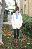 beige thrifted vintage sweater - brown Urban Outfitters boots - blue Urban Outfi