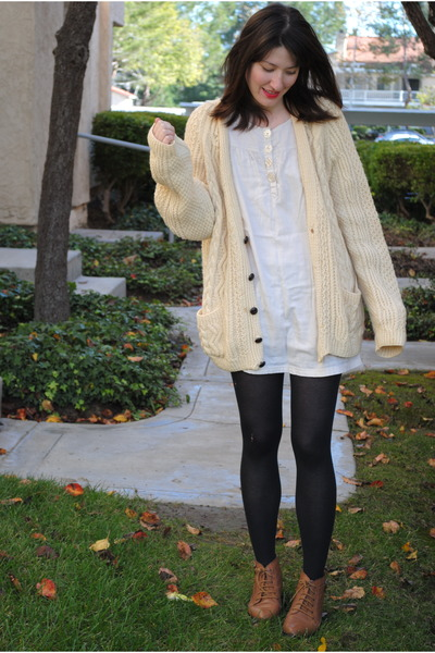 cream thrifted sweater , from japan dress , brown Urban Outfitters boots