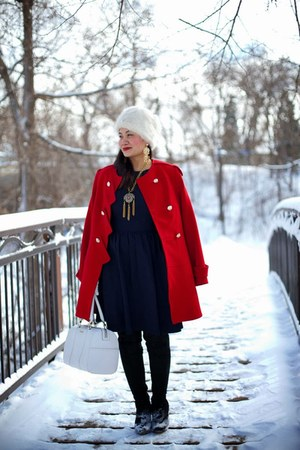ruby red Twenty-29 coat - black Vila boots - navy asos dress