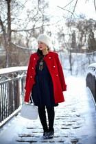 ruby red Twenty-29 coat - black Vila boots - navy asos dress