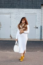 white knit maxi dress asos dress - white doctors bag calvin klein bag