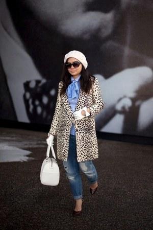 camel leopard print Emerson Fry coat - blue distressed asos jeans