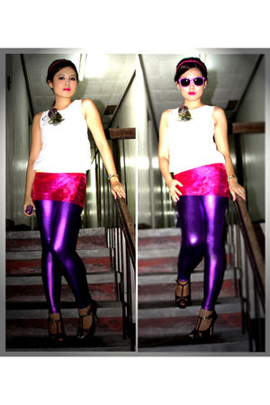 white St F top - purple TP leggings - brown prp shoes