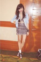 blue Mango jacket - silver from Rockwell bazaar skirt