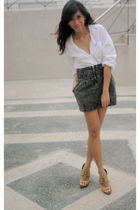 white Guess blouse - gray Pink Manila skirt