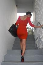 red H&M dress - black Christian Louboutin shoes