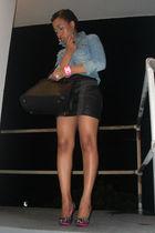 Old Navy shirt - black H&M skirt - Guess shoes - pink Saks 5th bracelet