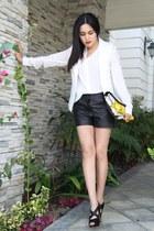 Roger Viver bag - Alexander Wang shorts - Forever 21 vest - Miu Miu heels