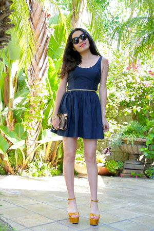 a&f dress - Louis Vuitton bag - Sergio Rossi wedges