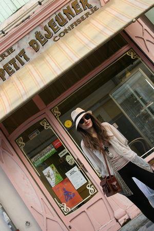 beige vintage hat - beige Topshop cardigan - beige H&M top - black My moms neckl