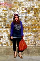 gray Urban Outfitters t-shirt - purple Jigsaw cardigan - blue Topshop jeans - br