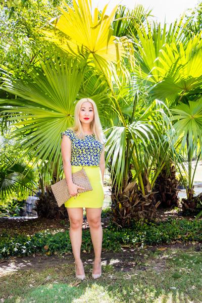 beige studded Dotti bag - yellow bodycon Forever 21 skirt