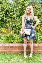 gray gingham Forever 21 dress - white studded clutch collette bag