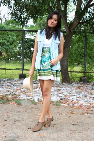 brogues Primadonna shoes - museum skirt - tank Mango top - denim DIY vest
