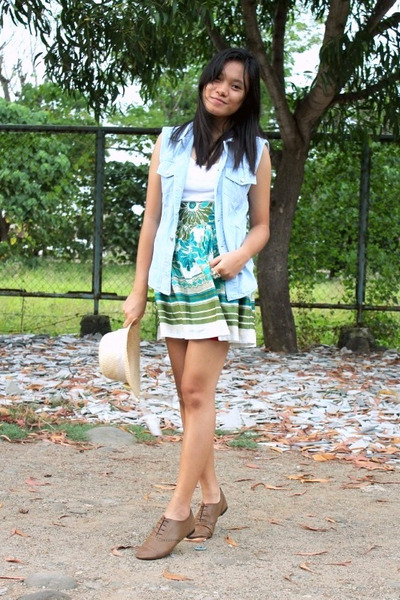 a8a2663a5e brogues Primadonna shoes - museum skirt - tank Mango top - denim DIY vest