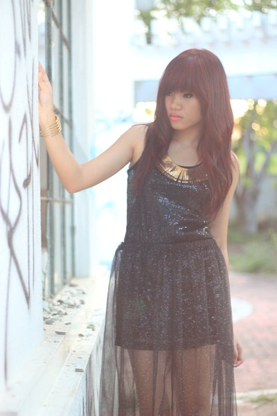 black sequined Fab dress - black tulle maxi skirt