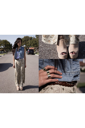 girtie Dolce Vita wedges - braided belt - top - thrifted skirt - denim vest