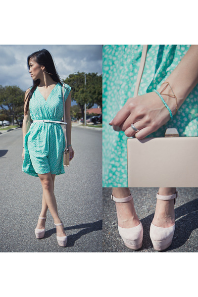 aquamarine Forever 21 dress - white belt - light pink platform heels
