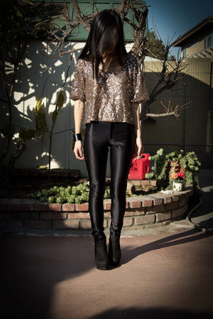 bronze sequin top - black wedge boots - black disco pants
