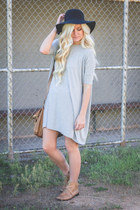 light brown Gap boots - heather gray asos dress - black Downeast Basics hat