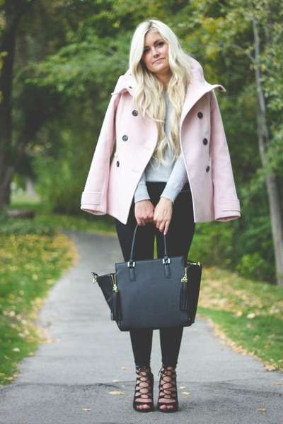light pink H&M coat - heather gray Forever 21 sweater