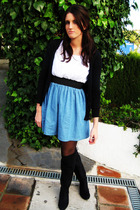 blue dress - black boots - black cardigan