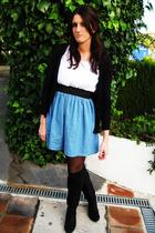 blue dress - black boots - black cardigan