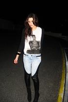 black Zara boots - silver Zara shirt