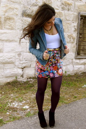 blue denim Juicy Couture jacket - black Topshop shoes - white Topshop shirt