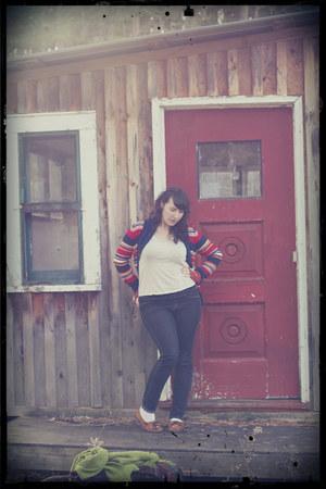 thrifted cardigan - ebay Minnetonka shoes - Forever 21 shirt - Uniqlo pants