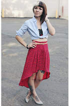 hot pink fishtail vintage skirt - light blue chambray thrifted shirt