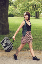 black vintage boots - brick red plaid J Crew dress - black Fred Perry bag