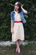 eggshell floral vintage dress - light blue denim thrifted jacket