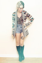 teal cardigan Urban Outfitters sweater - black lace up Dolce Vita boots