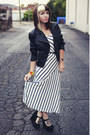 Navy-maxi-urban-outfitters-dress-black-leather-thrifted-jacket