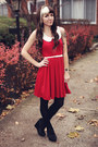 Red-modcloth-dress-black-h-m-tights-black-suede-urban-outfitters-wedges