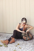 dark green animal print thrifted bag - tan canvas Urban Outfitters boots
