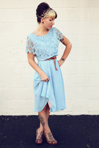 light blue lace vintage dress - brown Urban Outfitters belt