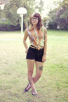 light orange galaxy thrifted blouse - black high waisted Urban Outfitters shorts