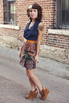 brick red wrap vintage skirt - brown suede big buddha wedges