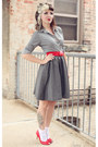 White-dotted-urban-outfitters-socks-charcoal-gray-a-line-h-m-skirt