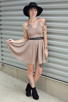 tan Urban Outfitters dress - black Urban Outfitters hat