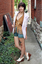 brown leather vintage top - light purple diy Urban Outfitters blazer