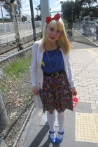 blue Target shoes - red 2 shop accessories - white cardigan - blue thrifted top