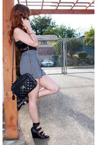 black thrifted Chanel purse - black high waisted Urban Outfitters shorts