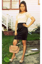 beige Forever21 blouse - black Forever21 skirt - beige shoes - gold Forever21 br
