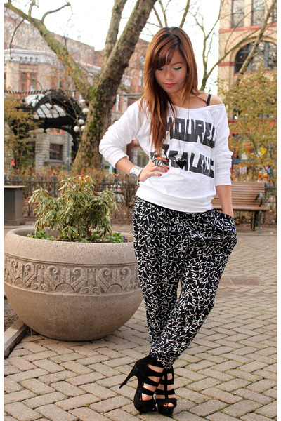 black Forever 21 pants - white Forever 21 blouse - black Forever 21 shoes