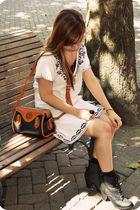 beige Heritage 1981 dress - brown dooney & burke purse - black shoes