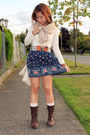 Blue-forever-21-skirt-beige-h-m-scarf-brown-forever-21-shoes