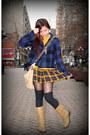 Navy-heritage-1981-jacket-mustard-forever-21-skirt-camel-thrifted-bag